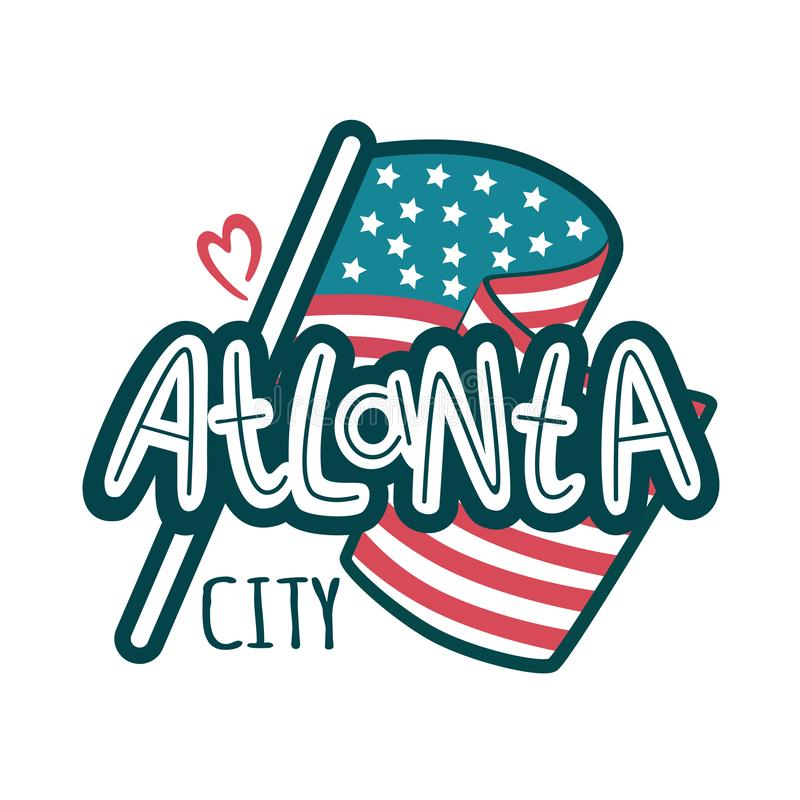 Hand written isolated city of Atlanta text, capital of Georgia. Vector hand lettered brush calligraphy phrase or sign. Ink hand lettering. eps 10 vector illustration