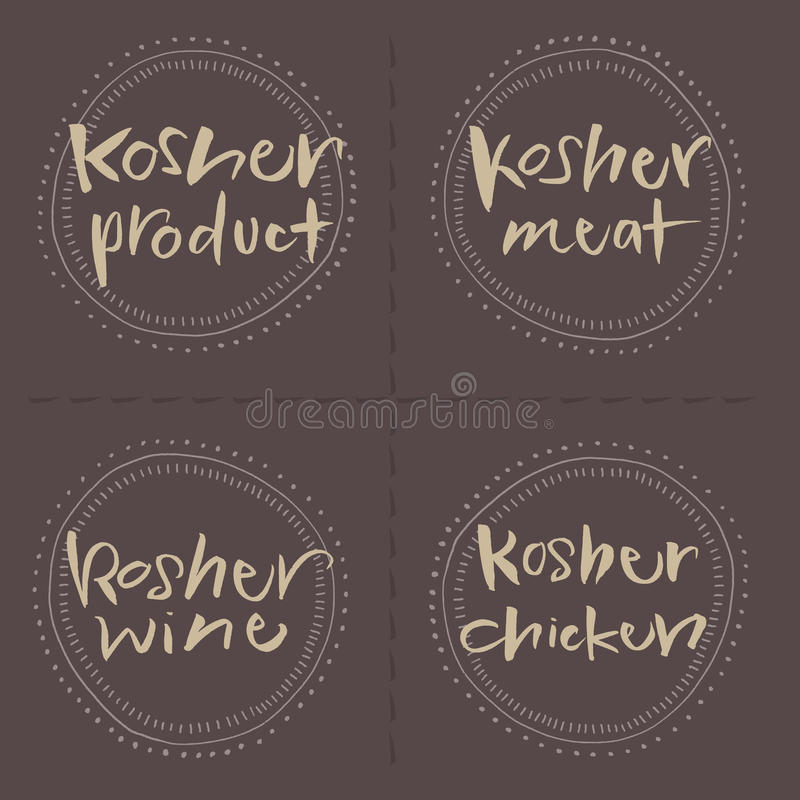Hand written Kosher products Vector Food Labels royalty free stock image