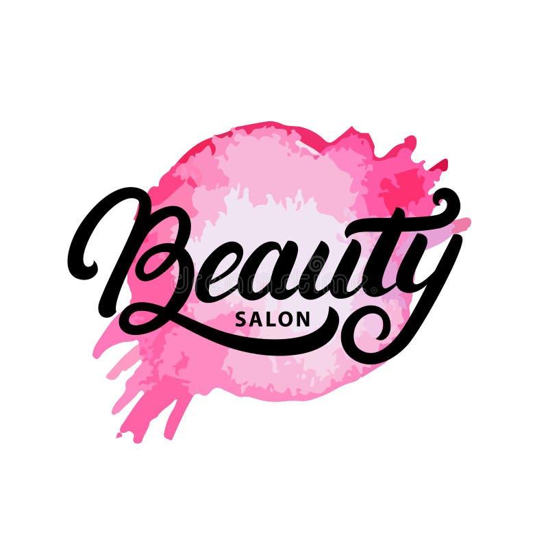 hand written lettering beauty salon logo label badge or emblem rh dreamstime com beauty salon logo png beauty salon logo psd