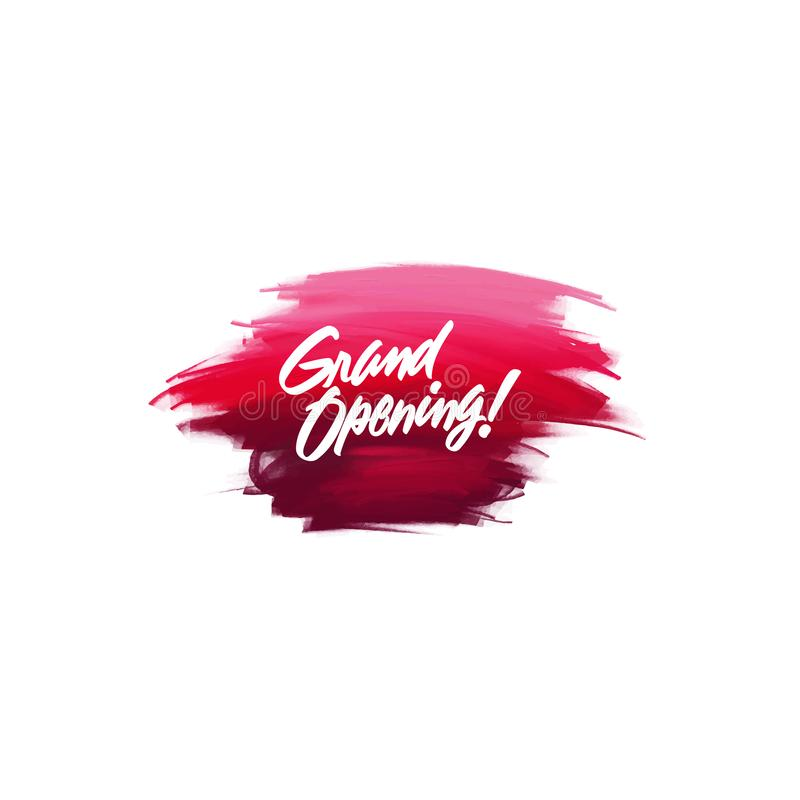 Hand-written lettering brush phrase Grand Opening with watercolor. Background vector illustration