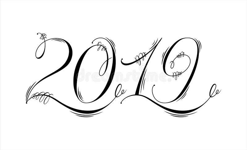 2019 hand written lettering. Flourishing and ornamental calligraphy. Happy New Year card design stock photo