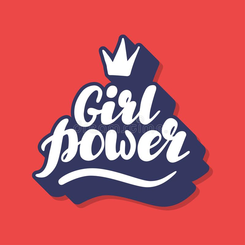 Hand written lettering Girl Power illustration stock images