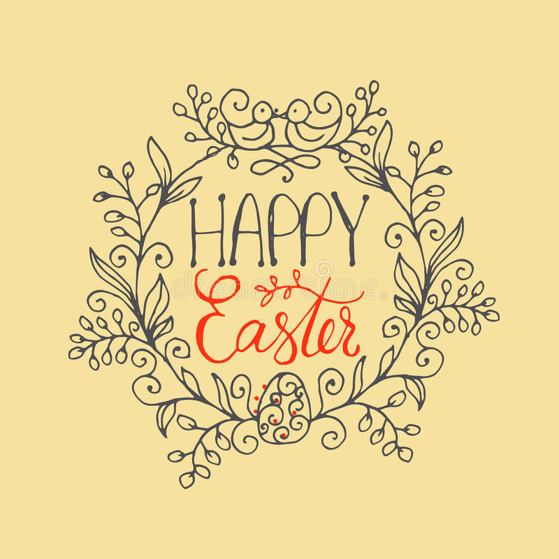 Hand written lettering Happy Easter wreath with two birds and egg. Greeting card text template. Modern calligraphy style stock illustration