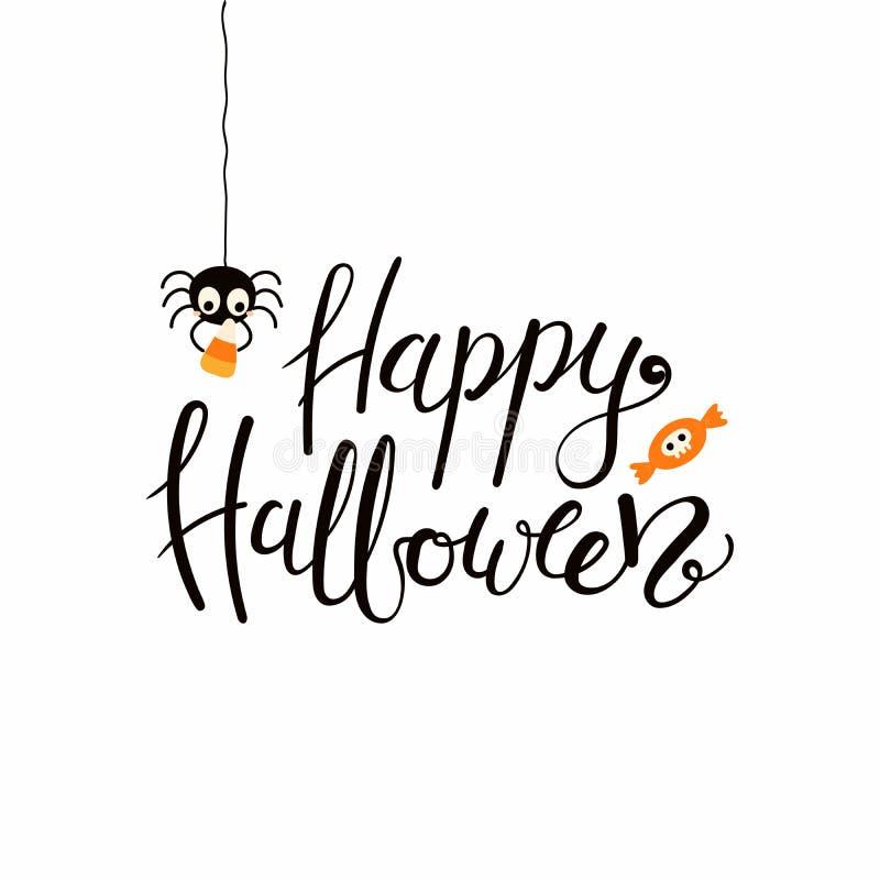 Happy Halloween lettering quote stock illustration