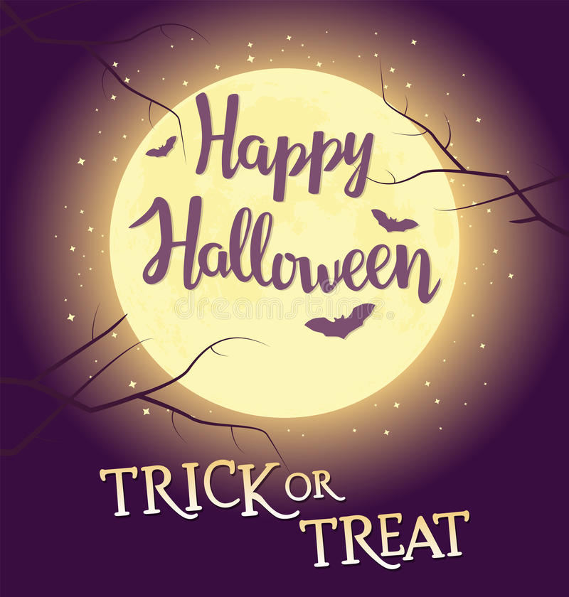 Hand written lettering with text Happy Halloween trick or treat. Typographical design element for halloween holiday royalty free illustration