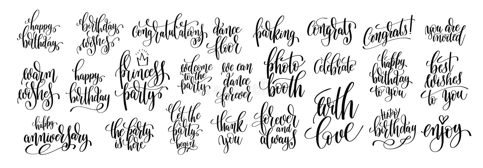 Hand written lettering to birthday party. Set of 25 black and white hand written lettering to birthday party design, calligraphy vector illustration collection royalty free illustration