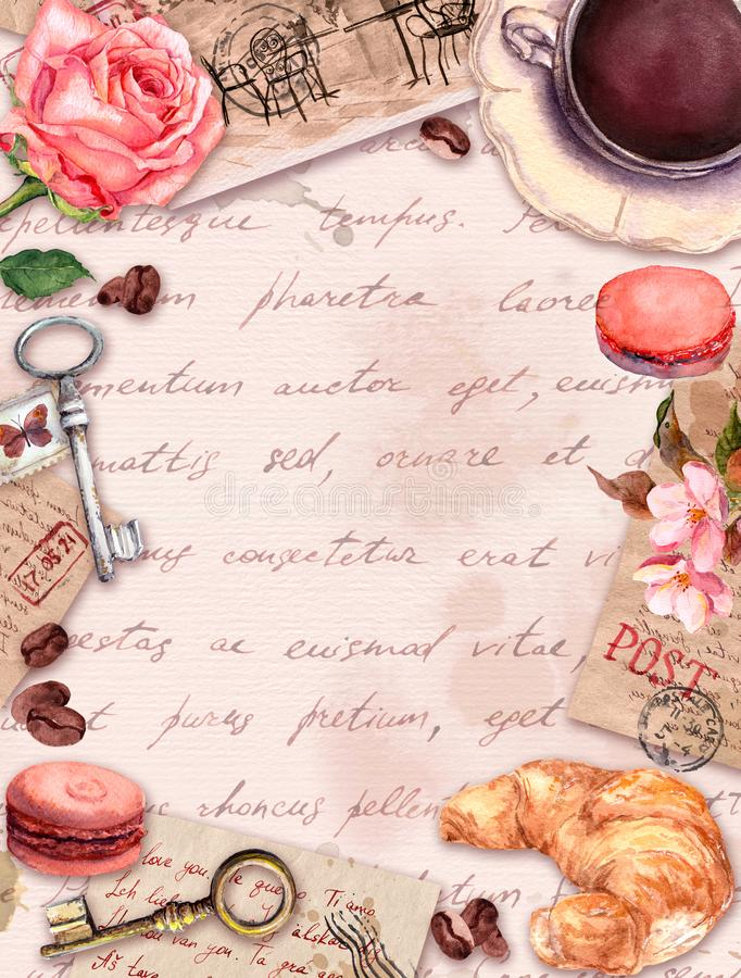 Hand written letters, coffee or tea cup, macaroon cakes, rose flowers, stamps, keys. Vintage card, blank, frame in. French style with empty space for your text stock illustration