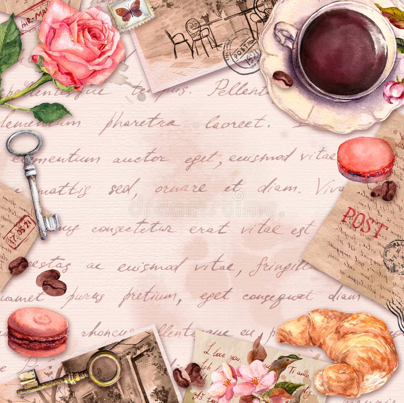 Hand written letters, coffee or tea cup, macaroon cakes, rose flowers, stamps, keys. Vintage card, blank, frame in. French style with empty space for your text royalty free illustration