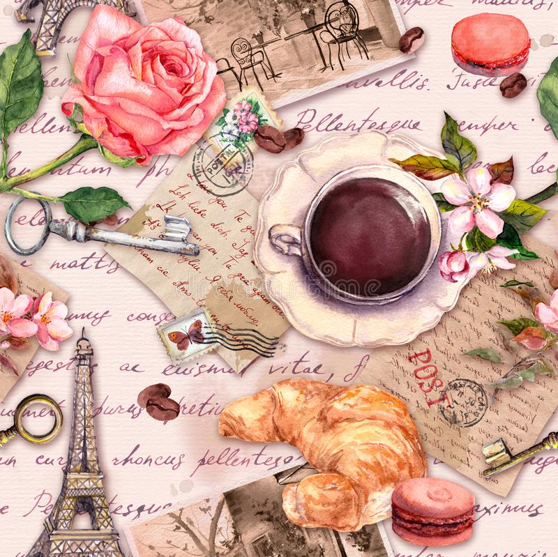 Hand written letters, Eiffel Tower, coffee or tea cup, macaroon cakes, rose flowers, stamps and keys. Vintage seamless. Hand written letters, Eiffel Tower vector illustration