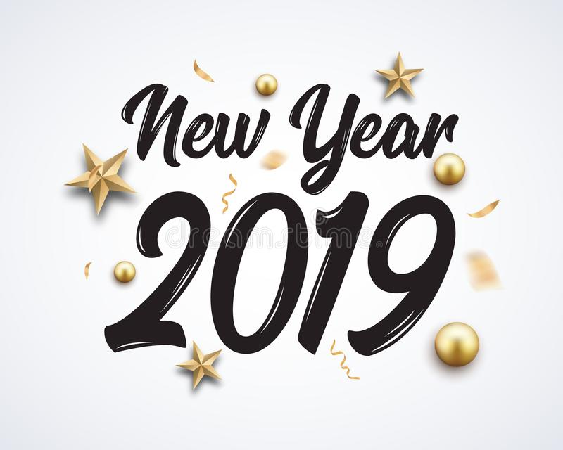2019 hand written new year. Lettering golden Christmas stars and balls design background. New 2019 year number decoration stock illustration