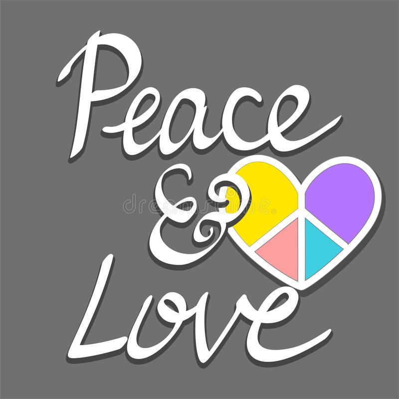 Hand Written Peace And Love Words With Colorful Heart Peace Sign