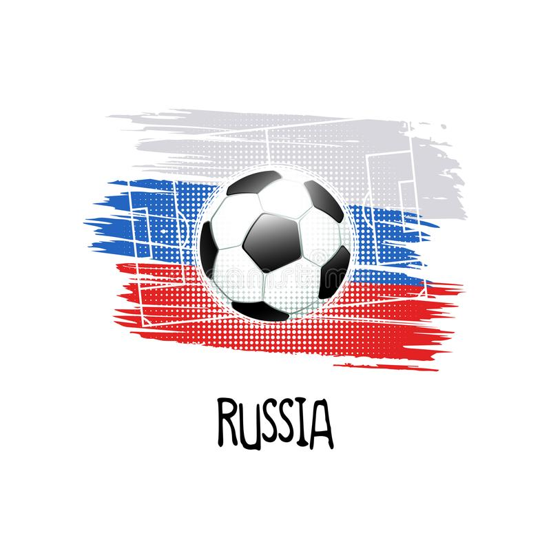 Hand written word `Russia` with soccer ball, soccer field and abstract colors of the Russian flag. Vector illustration stock illustration
