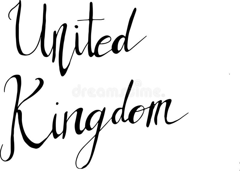 A hand-written word `UNITED KINGDOM` in vector format isolated royalty free stock photo