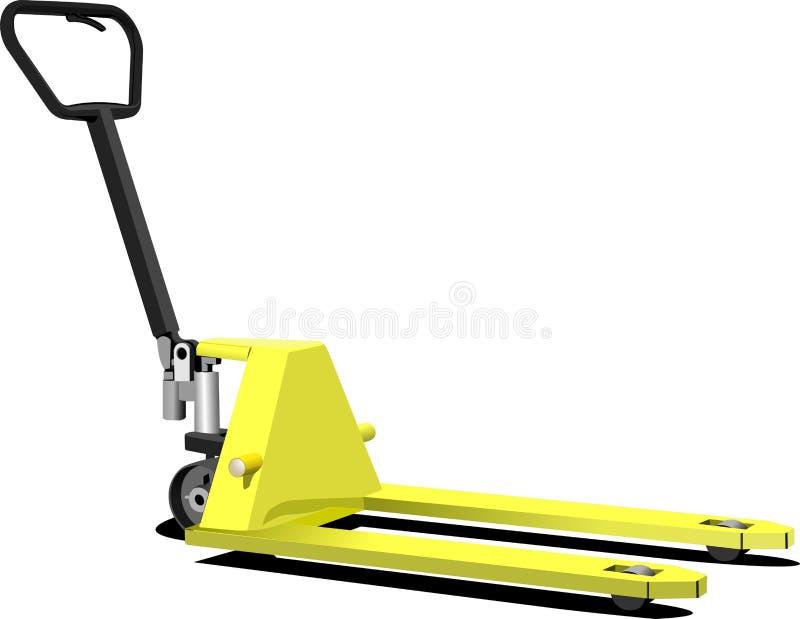 Hand yellow pallet truck. Forklift. vector illustration