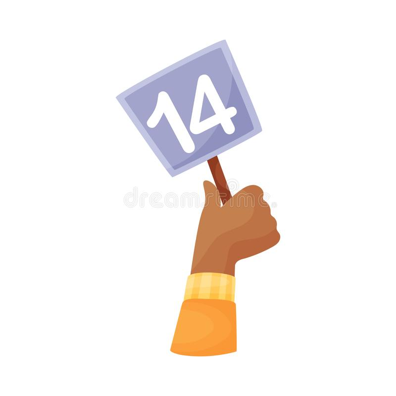 Square plate with the number 14 in hand. Vector illustration on a white background. Hand in a yellow sleeve holds a blue square plate with the number 14. Vector stock illustration