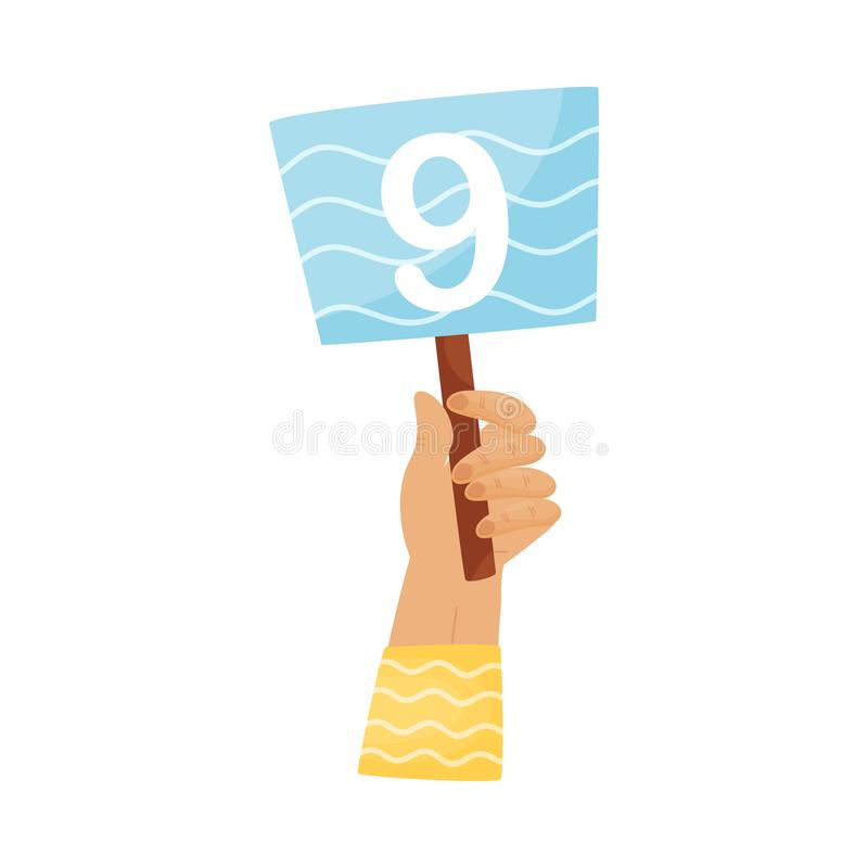 Square plate with the number 9 in hand. Vector illustration on a white background. Hand in a yellow striped sleeve holds a square blue plate with the number 9 stock illustration
