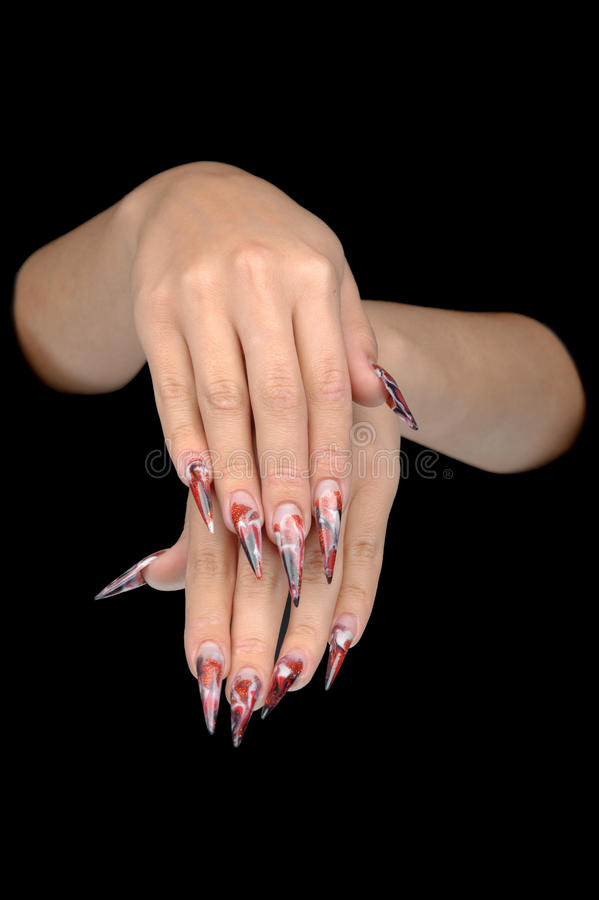 Hand Of Young Woman With Manicure On Nails Royalty Free Stock Photo