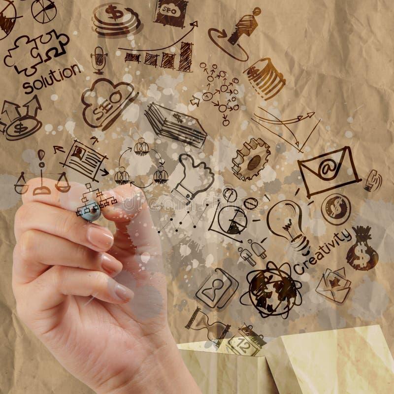 Hand zeichnet denken außerhalb des Kastens, wie kreativ vektor abbildung
