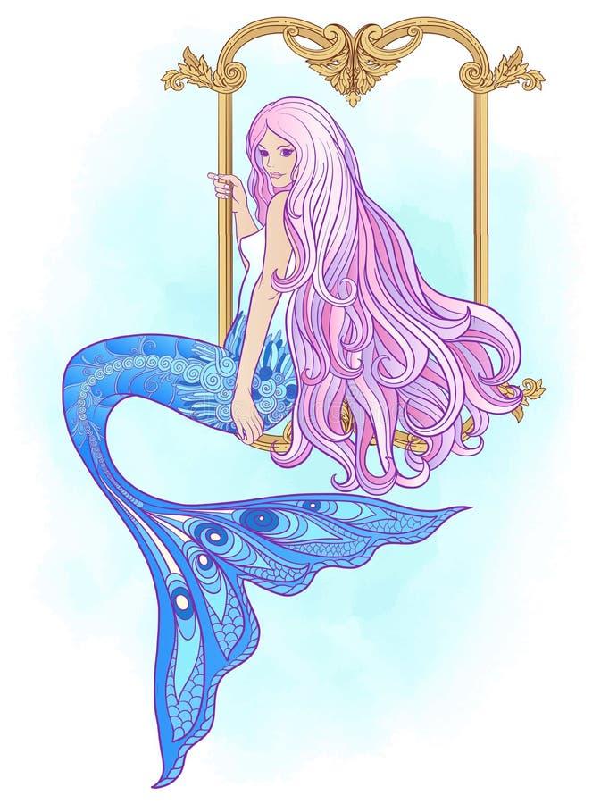 Hand zeichnete Meerjungfrau mit dem langen rosa Haar Auf lagervektorabbildung vektor abbildung