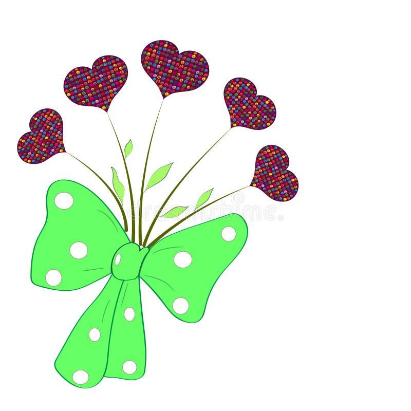 Hand-Zeichnungsblumenstrauß von bunten Herzen vektor abbildung