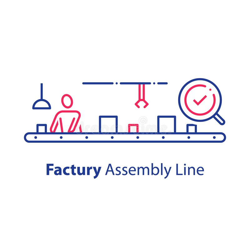 Handarbeider bij transportband, lopende band, en productiefabriek die, die systeem voor kwaliteitscontrole controleren verpakken royalty-vrije illustratie