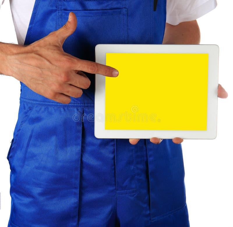Handarbeidersmens met tablet royalty-vrije stock foto