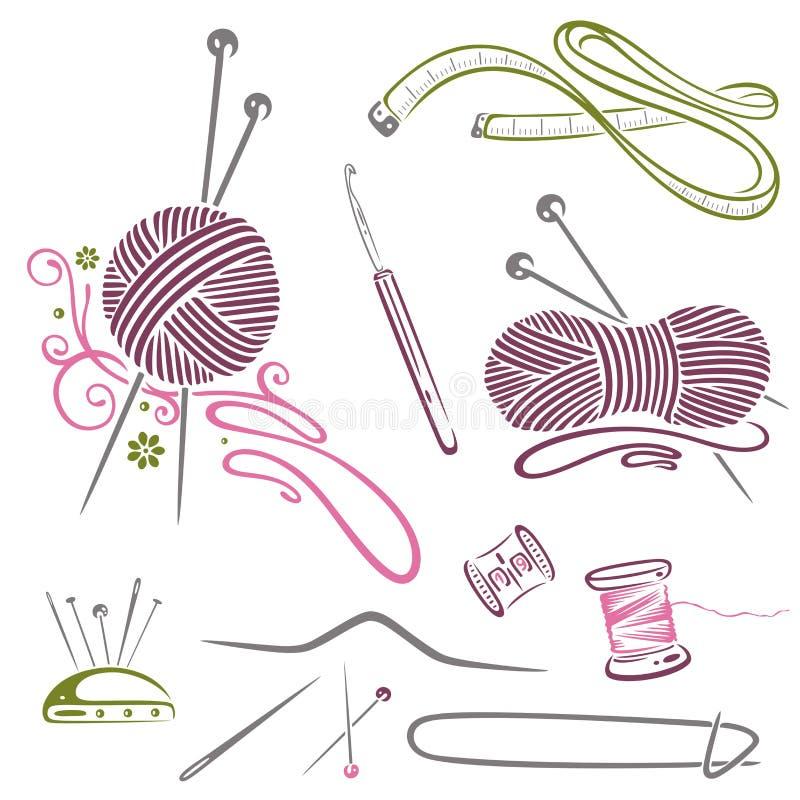 Handarbete handarbete, ull, virkning royaltyfri illustrationer