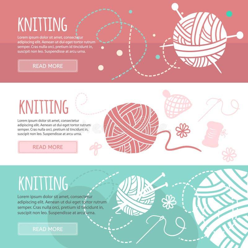Handarbete- och sömnadhorisontalbaneruppsättning vektor illustrationer