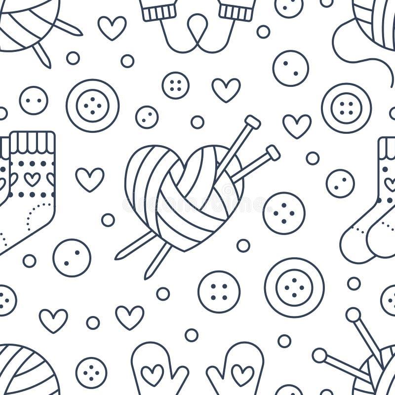 Handarbete sömlös modell för sömnad Gullig vektorlägenhetlinje illustration av handen - gjord utrustningrät maskavisare, knappar, stock illustrationer