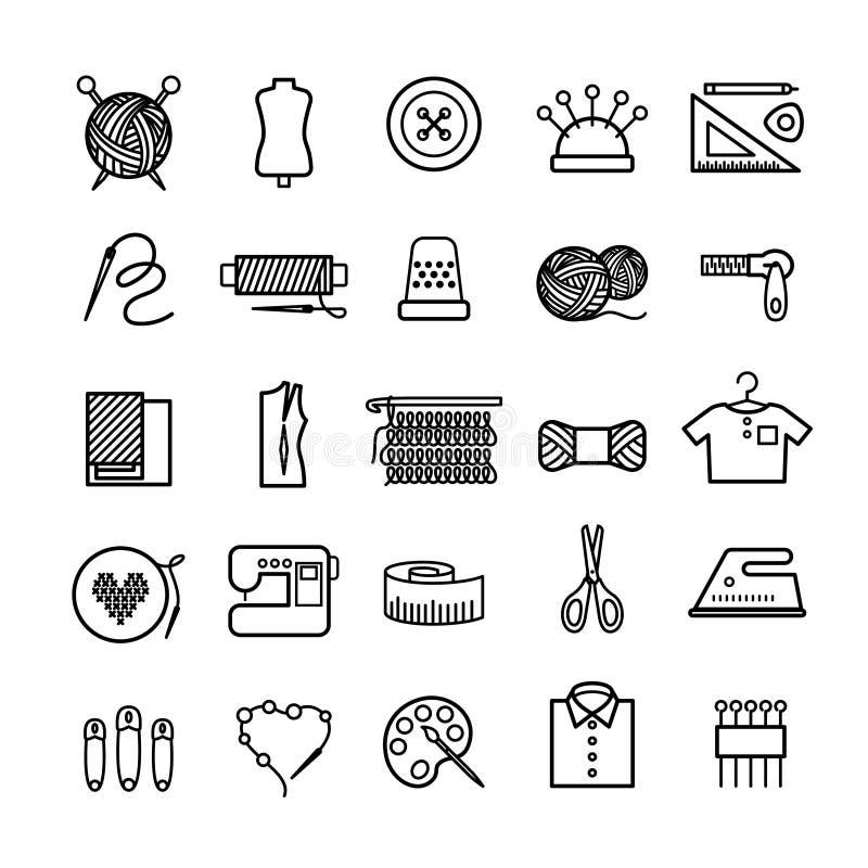 Handarbete-, sömnad- och handarbetesymboler vektor illustrationer