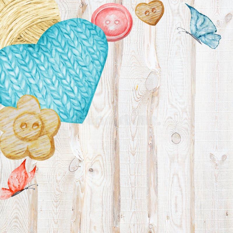 Handarbete shoppar banret som brännmärker, avataren - visare, garner, knapp För rät maskahantverk hobby Illustration för handgjor vektor illustrationer