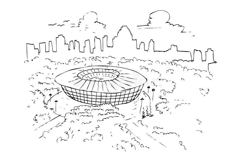 Handattraktion skissar av gelorabungkarno eller senayan sportstadion royaltyfri illustrationer