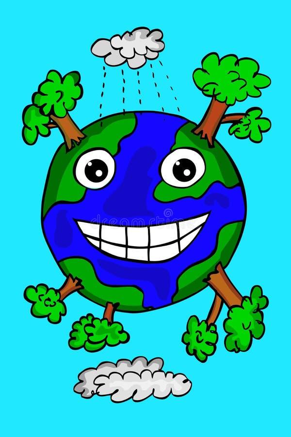 Handattraktion skissar av lycklig jord royaltyfri illustrationer