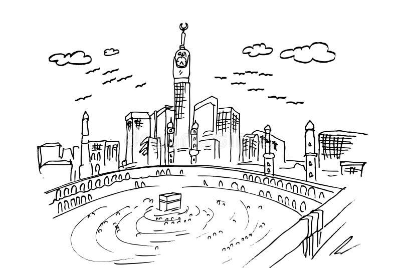 Handattraktion skissar av Mecka, ka`-bah royaltyfri illustrationer