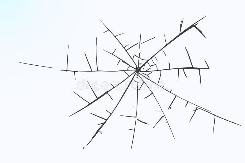 Handattraktion skissar, brutet exponeringsglas stock illustrationer