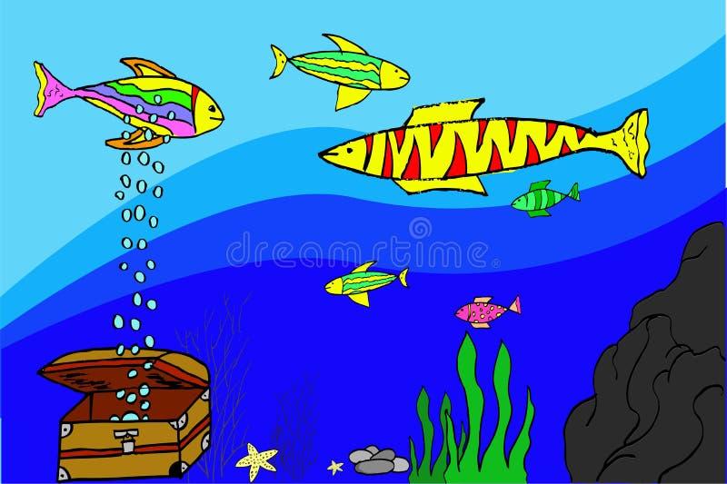 Handattraktion skissar, den olika fisken på akvariet stock illustrationer