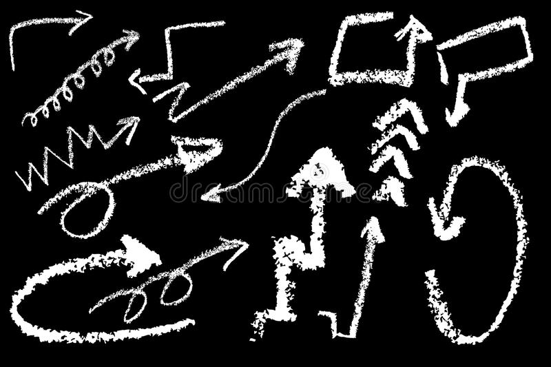 Handattraktion skissar med färgpennan, den vita pilen med färgpennan på svart vektor illustrationer