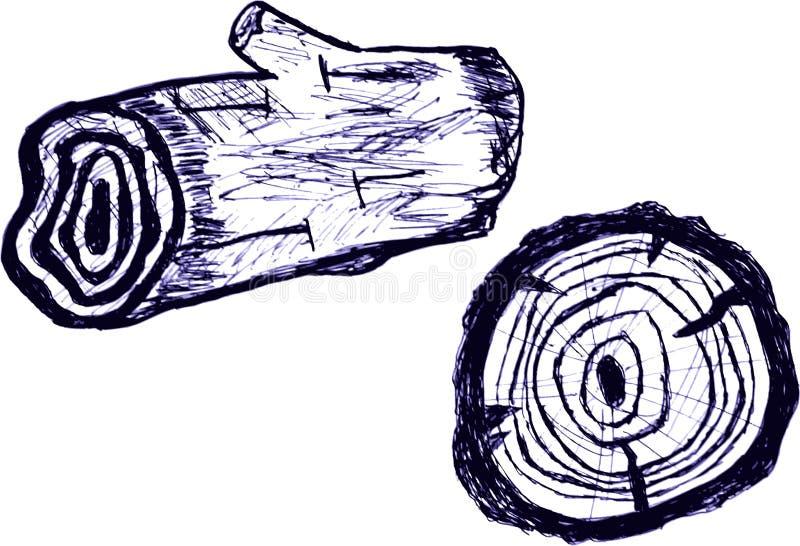 Handattraktion skissar Wood journaler, på vit stock illustrationer