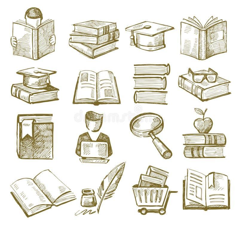 Handattraktionböcker stock illustrationer
