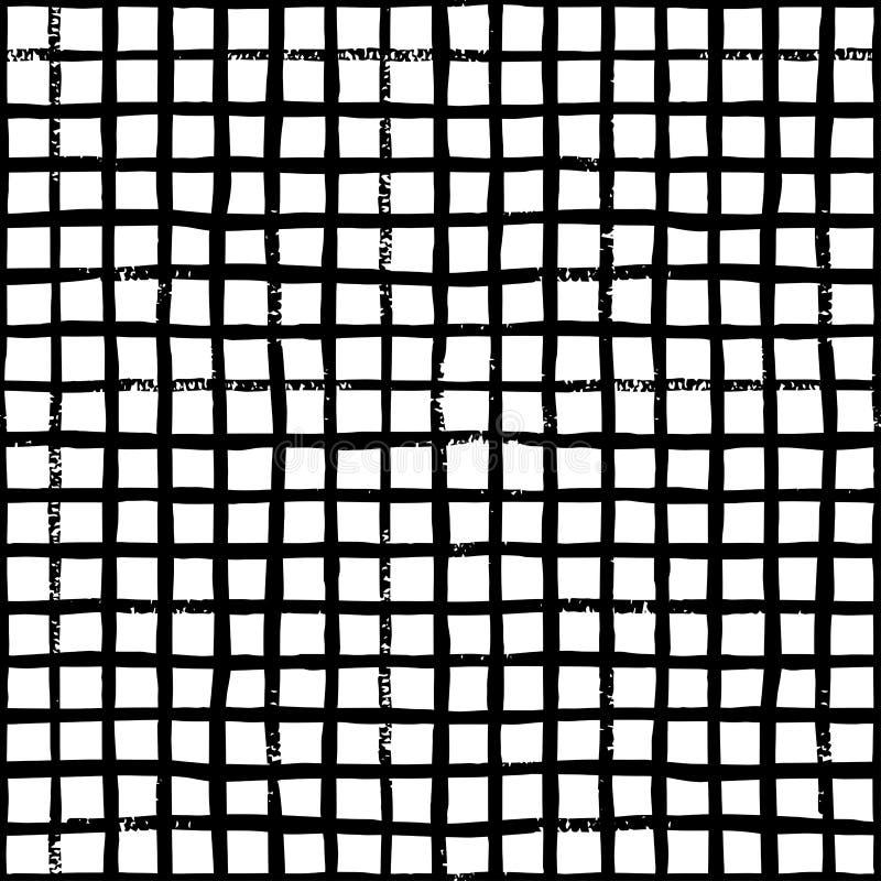 Handattraktionborsten kopplar ihop den svartvita sömlösa modellen vektor illustrationer
