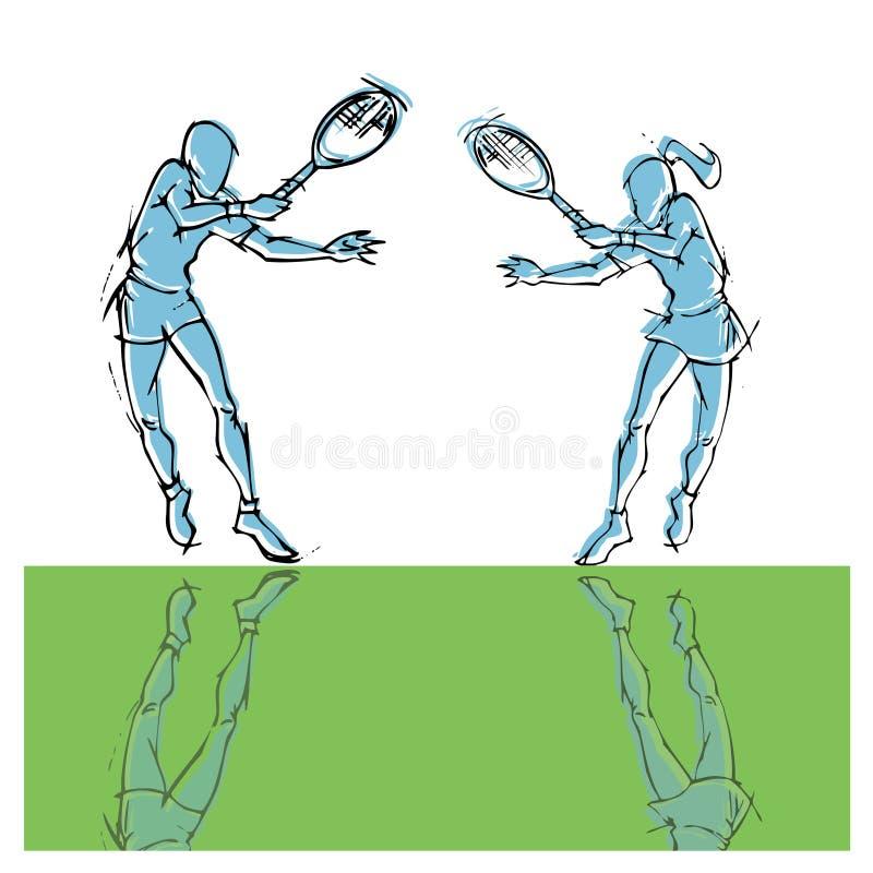 Handattraktionkontur av tennisspelarepar royaltyfri illustrationer