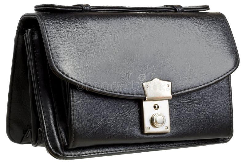 Handbag. Black leather handbag isolated on white background royalty free stock image