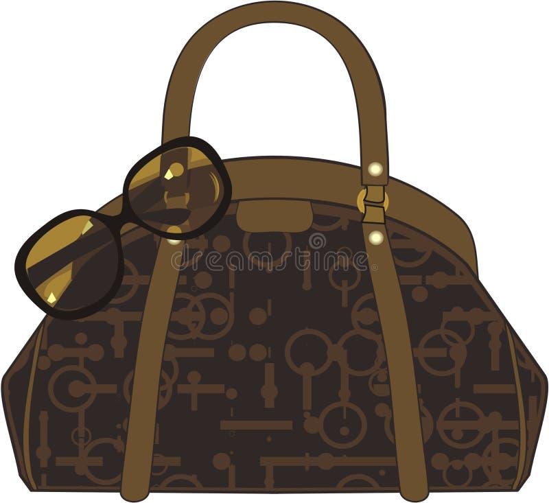 Handbag. Brown handbag and sunglasses isolated