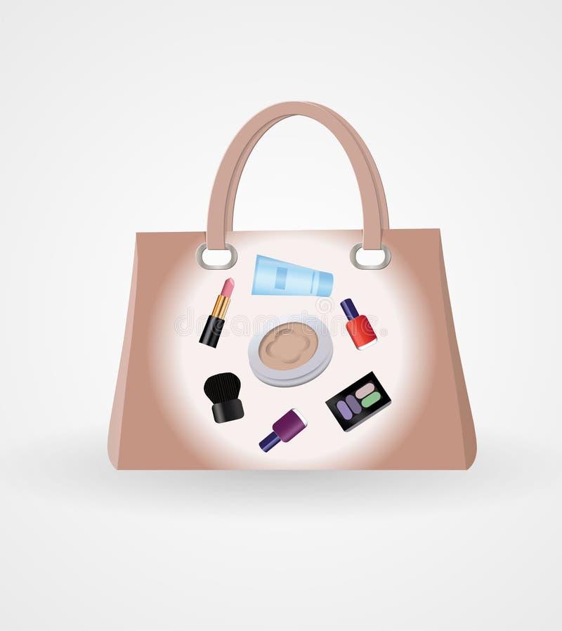 Download Handbag with cosmetics stock vector. Image of fill, comb - 32274999