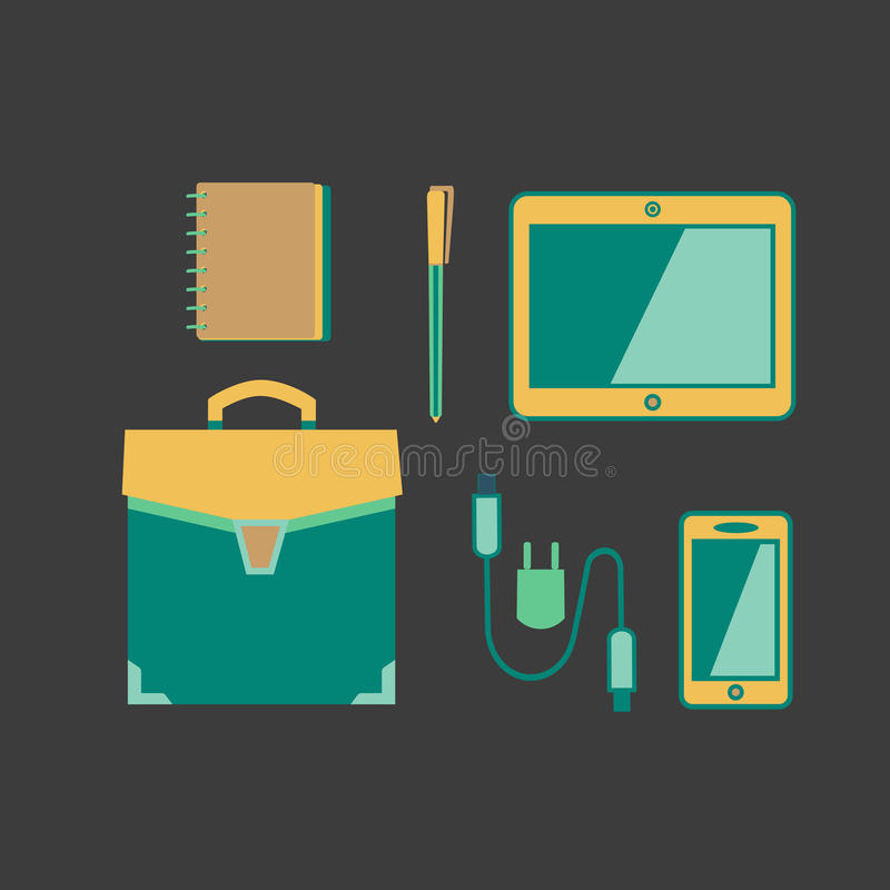 Handbag icon concept. Business meeting accessories icons set. Flat style. Briefcase, notebook, pen. Leather travel bag sign. USB cable, tablet, mobile phone stock illustration