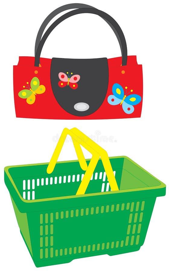 Handbag and market basket. Vector clip-arts of a red and black handbag with butterflies and green market basket royalty free illustration