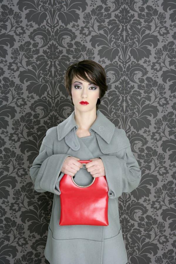 Handbag red retro woman vintage fashion royalty free stock image