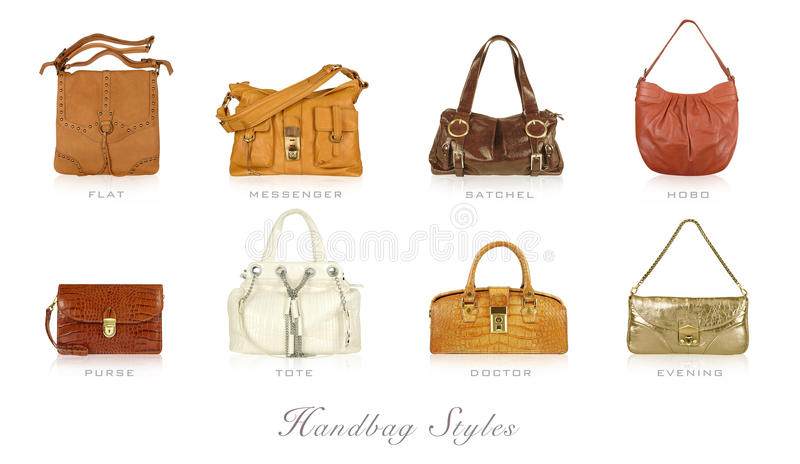 Handbag styles. Leather handbags in different styles stock photos