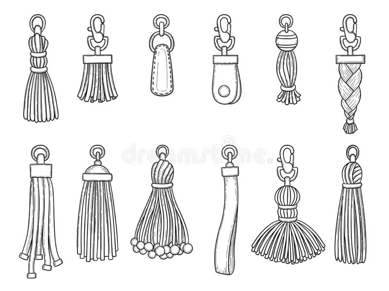 Handbags accessories. Leather textile technician knot trinket threads fashion items vector illustrations stock illustration