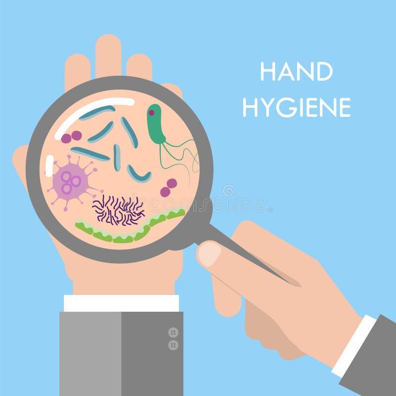 Handbakterier under förstoringsapparatexponeringsglas royaltyfri illustrationer
